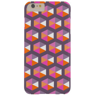 Geometric Purple and Orange Hexagon Pattern Barely There iPhone 6 Plus Case