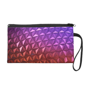 Geometric Purple and Rust Colored Wristlet