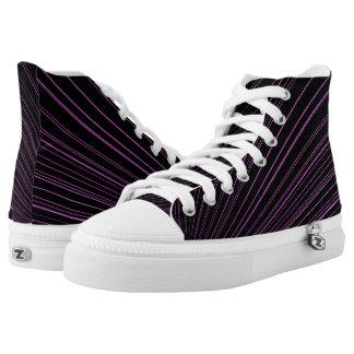 Geometric Purple Lines Black High Top Sneakers