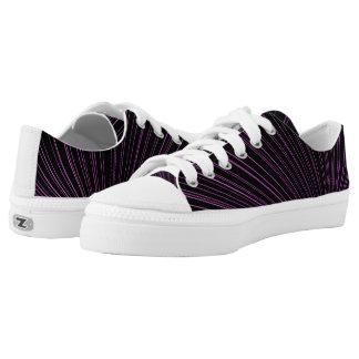 Geometric Purple Lines Black Zipz Low Top Shoes Printed Shoes