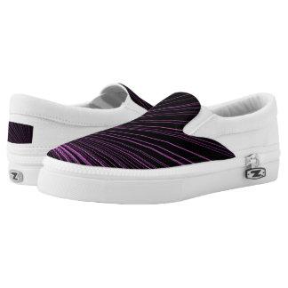 Geometric Purple Lines Black Zipz Slip On Shoes Printed Shoes