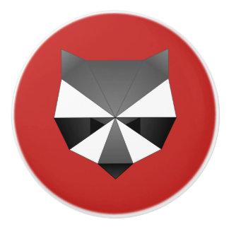 Geometric Raccoon Ceramic Knob