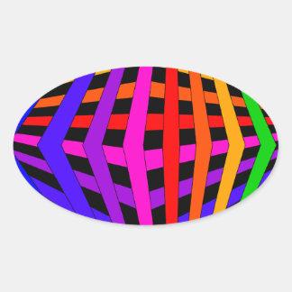 Geometric Rainbow Spectrum Designer Modern 1 Oval Sticker