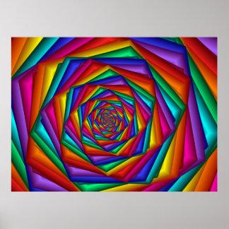 Geometric Rainbow Spiral Poster