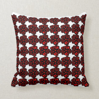 Geometric Red and Black Flowers Throw Pillow