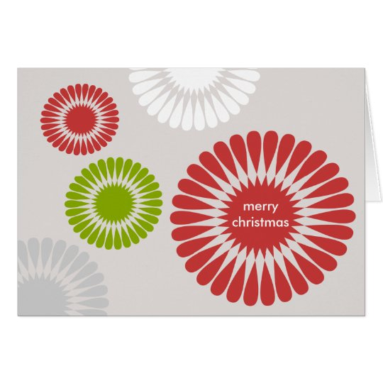 Geometric red Christmas holiday business greeting Card