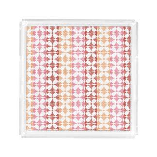 Geometric red ikat stripes pattern acrylic tray