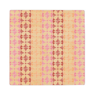 Geometric red ikat stripes pattern maple wood coaster