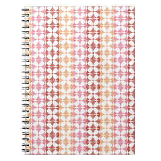 Geometric red ikat stripes pattern notebooks