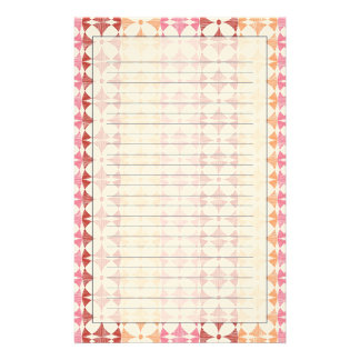 Geometric red ikat stripes pattern stationery