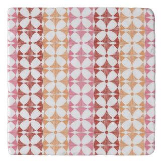 Geometric red ikat stripes pattern trivet