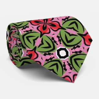 Geometric red-pink-green tie