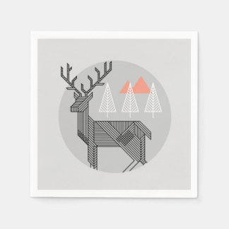 Geometric Reindeer Christmas Party Napkin Paper Napkin