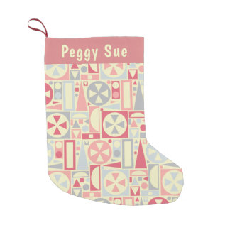 Geometric Retro 1950s Midcentury Modern Pink Small Christmas Stocking