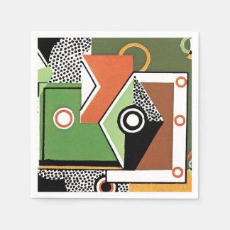 Geometric Retro Deco Abstract Green Disposable Napkin