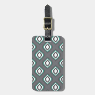 Geometric retro ikat tribal pattern luggage tag