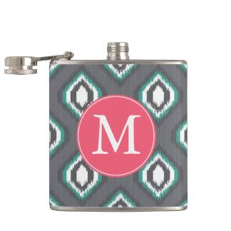 Geometric retro ikat tribal pattern   Monogram Hip Flask