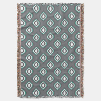 Geometric retro ikat tribal pattern throw blanket