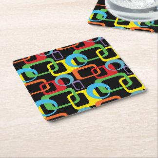 Geometric Retro Multicolored Pattern Square Paper Coaster