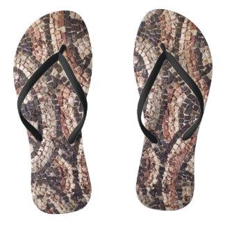 Geometric Roman Mosaic Flip Flops