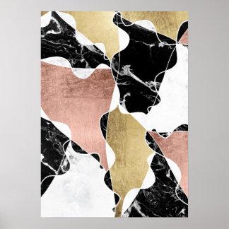 Geometric rose gold black white marble color block poster
