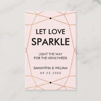 Geometric Rose Gold Sparkle Tag | Custom Colour