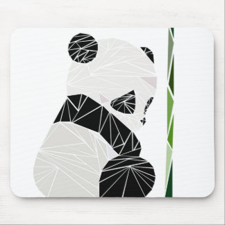 Geometric sad panda mouse pad