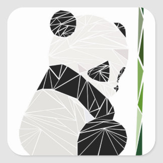 Geometric sad panda square sticker