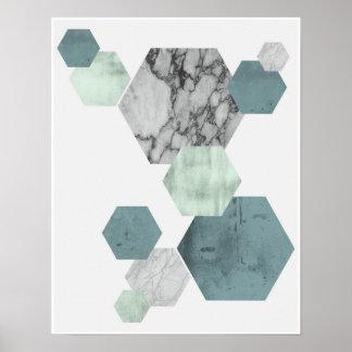 Geometric, Scandinavian coastal hues hexagon art Poster