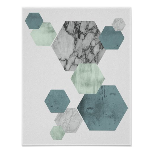 Geometric, Scandinavian coastal hues hexagon art Poster