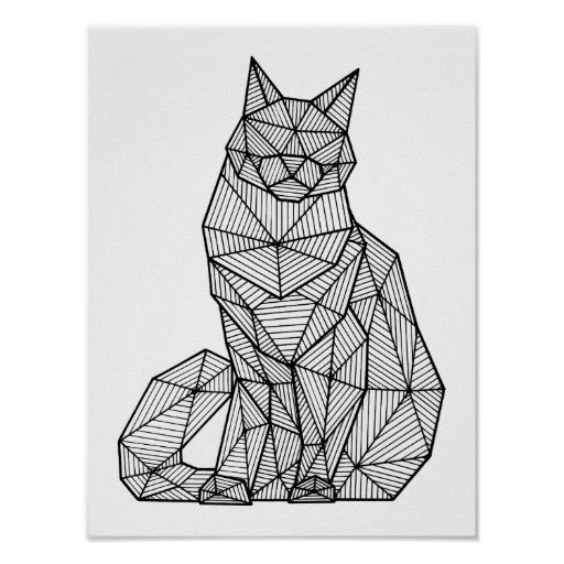 Geometric Seated Cat, Front Poster