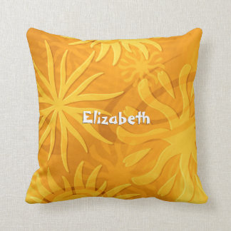 geometric shapes abstract suns orange gold throw pillow