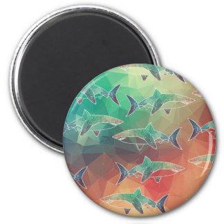 Geometric Sharks 6 Cm Round Magnet