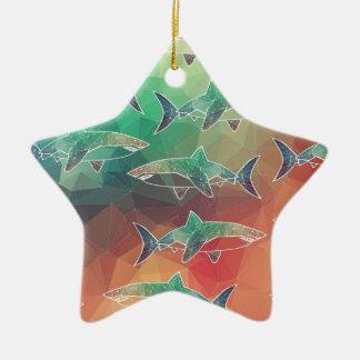 Geometric Sharks Christmas Ornament