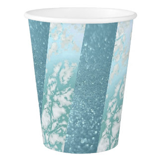 Geometric Silver White Aquatic Blue Marble Paper Cup