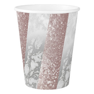 Geometric Silver White Pink Rose Gold Marble Paper Cup