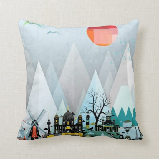 Geometric simple Mountain City cushion design