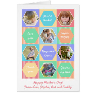 Geometric Six Photos Mother's Day Greeting Card