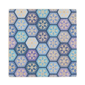 Geometric Snowflakes Pattern Maple Wood Coaster