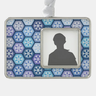 Geometric Snowflakes Pattern Silver Plated Framed Ornament