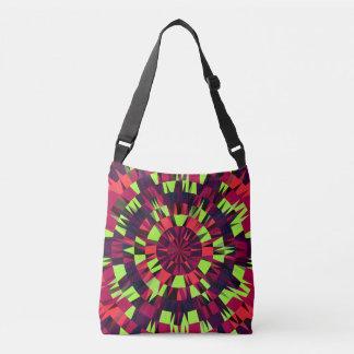 geometric splash cross body bag green orange pink