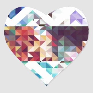 Geometric. Squares and Triangles. Heart Sticker