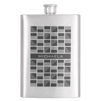 Geometric Squares custom monogram flask