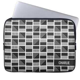 Geometric Squares custom monogram laptop sleeves