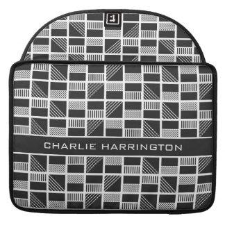 Geometric Squares custom monogram MacBook sleeves
