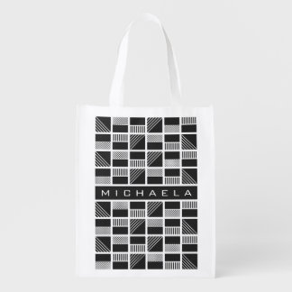 Geometric Squares custom monogram reusable bag