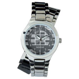 Geometric Squares custom monogram watches