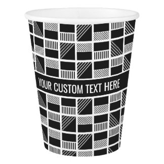 Geometric Squares custom text paper cups