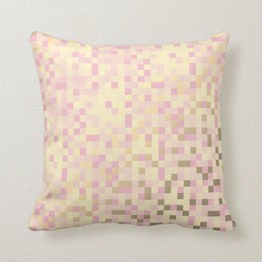 Geometric Squares Foxier Gold Pink Rose Cyber Cushion