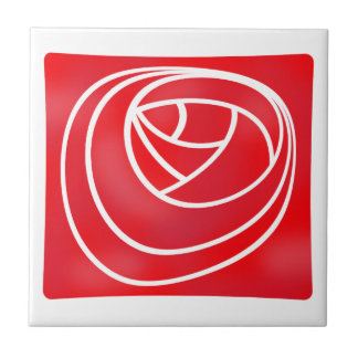 Geometric Stencil Style Art Nouveau Red Rose Small Square Tile